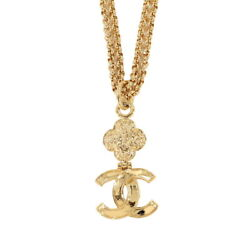 Coco Logos Long Necklace Gold 95a Accessory Vintage 90120689