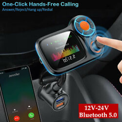 12-24v Bluetooth Car Fm Transmitter Mp3 Player Hands Free Radio Fast Charger 1pc