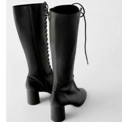 Zara Victorian Style Uk 7 Black Lace-up Long Leather Boots 40 High Heel Shoes