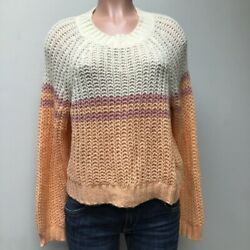 American Eagle Outfitters Womens Pullover Sweater Orange Ivory Color Block M New