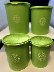 Vintage Tupperware Green Apple Servalier Nesting Containers Full Set Of 4