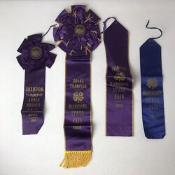 Lot 4 Vintage 4h Ribbons Minnesota State Fair Grand Champion 1944 And Anoka County