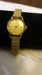 Vintage Timex Gold Plated Tcell Ladies Watch/stainless Steel Back/japan Mov Di