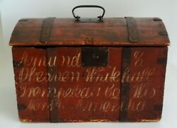 1850's Americana Hand Painted Trunk Iron Bound, With Script Norwegian