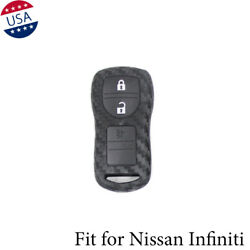 Carbon Fiber Pattern Soft Silicone Car Smart Key Fob Cover For Nissan Infiniti