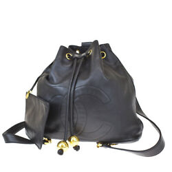 Authentic Cc Drawstring Chain Backpack Bag Leather Black Vintage 674r377