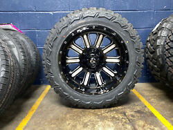 5 20x10 Fuel Hardline 33 Mt Black Wheels Tire Package 5x5 Jeep Wrangler Jk Tpms