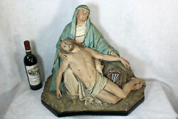 Antique Xl French Chalkware Church Pieta Christ Mary Statue Group Religious