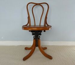 Antique Thonet Signed Vienna Bentwood Swivel Chair Austrian Piano Chair Iron
