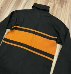 Vtg 10and039s 20and039s Wool Knit Turtleneck Stripe Football Athletic Jersey Orange Black