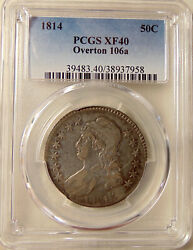 1814 Bust 50c - Pcgs Xf40 - Scarce O.106a R.4+ Shattered Die - Very Nice Pq Coin
