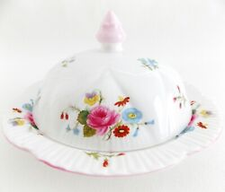Shelley Rose And Red Daisy Covered Butter Dish White Porcelain Multi Colors