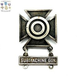 Wwii Us Army Sharpshooter Badge Sub M.g. Bar Sterling Ww2 Item Ss11