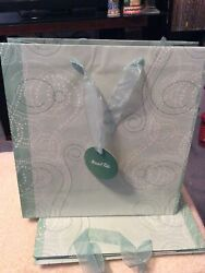 3 Marshall Fields Pastel Green Striped Medium Holiday Shopping Bags Wt Gift Tag
