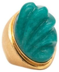 Burle Marx 1960 Brazil 18 Kt Gold Ring With Forma Livre 38 Cts Carved Amazonite