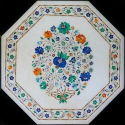 2and039x2and039 Table Marble Inlay Top Pietra Dura Garden Antique Coffee Dining Decor W100