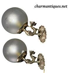 Pair Of Vintage Dolphin Wall Sconces Ball Lamp Shade
