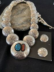Navajo Grad Sterling Silver Pillow Coral Turquoise Stamped Bead Necklace534 Earr