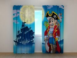 3d Curtain Printed Pirate For Kids Blue Boys Ship Sea Wellmira Made To Measure