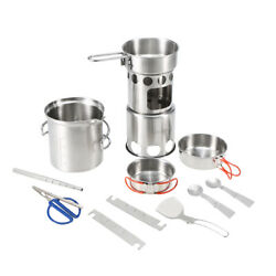 10pcs Camping Cookware Mess Kit Outdoor Portable Stainless Steel Folding Y8x1