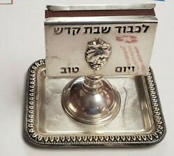 Vintage Judaica Sterling Silver Matchbox Holder With Tray - 53.9 Grams