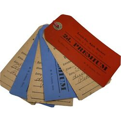Lot Of 6 Vintage 1914 Lewis County Fair Lowville New York Entry Tags Tickets