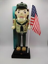 2013 12-1/2 Wooden Nutcracker Boy Scout. Moveable Mouth. With Original Box
