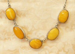 Old Sterling Silver W/ Large Baltic Butterscotch Amber Festoon Necklace 32021c
