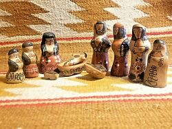 Fine Old Pottery Nativity Set 11 Pc Mary Joseph Jesus Paint Decorated Mexican
