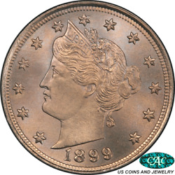 1899 Liberty V Nickel Pcgs And Cac Ms66+ Premium Quality + Coin