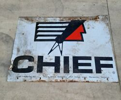 Chief Industries Vintage Antique Metal Tin Sign 36x 48 Rare 1950's 60's