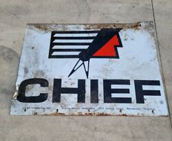 Chief Industries Vintage Antique Metal Tin Sign 36x 48 Rare 1950and039s 60and039s