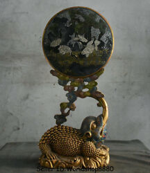 22.8 Old China Cloisonne Enamel Dynasty Golden Toad Spittor Crane Screen Statue