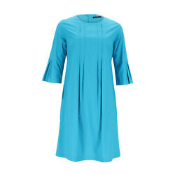 Odeeh Dress Womenand039s Turquoise Crew Neck 3/4-arm Cotton Size 36 Previously