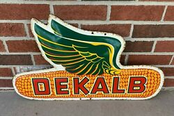 Rare Vintage Metal Dekalb Flying Ear Sign Farm Seed Feed Gas Oil Cola 16 Tall