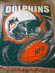 Miami Dolphins Woven Throw Blanket Tapestry  Nfl 57x47