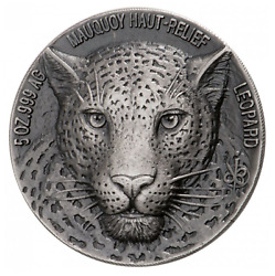 2018 Ivory Coast Mauquoy Haute Big Five Leopard High Relief Antiqued 5oz Silver