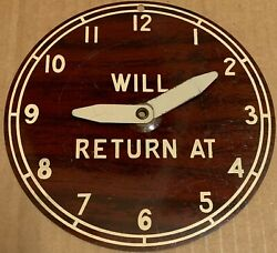Vintage Metal Open Closed Store Sign Tin Litho Clock Adjustable Round Return At