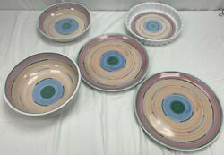 Cabana By Caleca Set Of 20 Hand-painted Pastels Serving Dishes Platters Italy