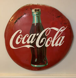 Coca Cola 24 Inch Red Button Sign Bottle Coke Am 12 55 Circle Wall Hanging 1955