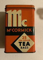 Vintage 1938 Mccormick Tin 25 Tea Bags Empty Can Great Graphics