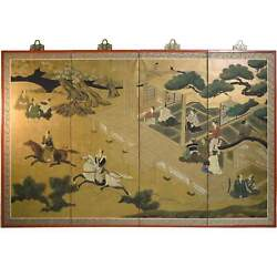 Japanese Four Panel Edo Gold Foil Screen Pagoda With Noble Horsemen Tranquil Pag