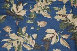 Upholstery Furniture Drapery Leafy Blue Brown Green Tan Fabric 6yds