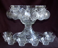 Star Of David Eapc Anchor Hocking - Punch Bowl, 18 Cups And Underplate
