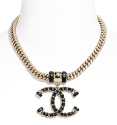 21s Runway Black Leather Cuban Chain Link Gold Metal Cc Xl Logo Necklace