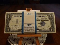 1957-b Silver Certificates In Pack Of 100 In Sequence Order Gem Uncirculated