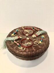 """Large 10"""" Antique Chinese Sewing Basket W/ Contents"""