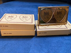 3 Sets Solid Brass Mini Double Heart Picture Photo Frame Boxed Nib