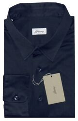 525 New Brioni Navy Blue Jersey Knit Cotton Fitted Fit Casual Dress Shirt Xxl
