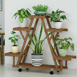 6 Tier Mobile Wood Plant Stand Sturdy Triangle Flower Rack 360° Detachable Wheel